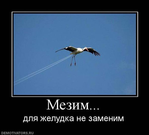 Демотиватор - мезим поможет взлететь