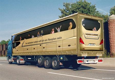 Креативная реклама на грузовиках - Bus