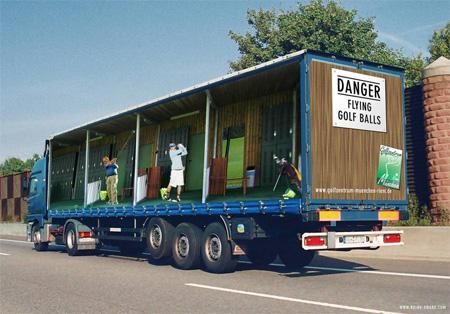 Креативная реклама на грузовиках - Гольф
