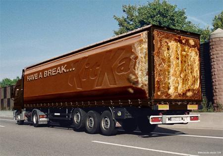 Креативная реклама на грузовиках - KitKat