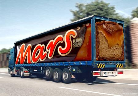 Креативная реклама на грузовиках - Mars